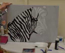 Painting in the black strips
